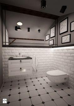 MIESZKANIE NA PODDASZU - Średnia łazienka na poddaszu w domu jednorodzinnym z oknem, styl klasyczny - zdjęcie od TAKE [DESIGN]