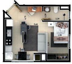 Studio flat floor plan