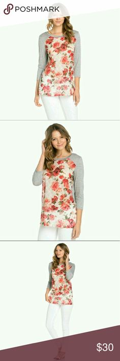 Floral Lace Front Top Floral lace front top with Heather gray back. 3/4 length sleeves. This top is super cute and casual! 100% polyester. The front is unlined so a little pink or white camisole would look darling underneath! This top is nice and long, legging friendly! A great gift for someone! Tops