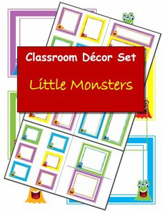 """I had fun creating these """"little monster"""" label sets! I think they'll work great for back to school. $6 Click for more classroom decorations http://www.classroom-caboodle.com/collections/fun-stuff/decorations"""