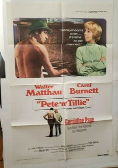 "PETE 'N' TILLIE 1972 Original Movie Poster CAROL BURNETT One Sheet 27"" x 41"" Cellophane Tape, Walter Matthau, Lost Horizon, Sam Elliott, Donald Sutherland, Anthony Quinn, Love Machine, Carol Burnett, Original Movie Posters"