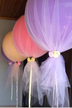 Balões cobertos. Adorei o efeito. Lindo!