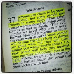 A lesson I learned again recently. Who needs enemies when you have certain friends like these.....