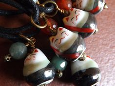 Ceramic Lucky Cat Charm with Protective Agate  by YinYangWest, $15.00