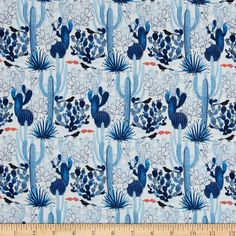 Cloud 9 Organic Moody Blues Cacti Fabric
