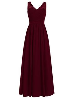 Dresstells® Long Bridesmaid Dress V-neck Chiffon Prom Dress Lace Evening Dress Burgundy Size 22W