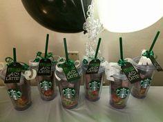 Starbucks cups favors Starbucks Birthday Party, Birthday Coffee, Birthday Party For Teens, 14th Birthday, Birthday Cupcakes, Birthday Party Favors, Party Party, Birthday Ideas, Starbucks Cup Gift
