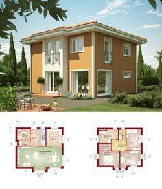 Modernes einfamilienhaus mit satteldach architektur putz for Modernes walmdachhaus