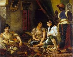 The Women of Algiers (in Their Apartment) - Eugene Delacroix.  1834.  Oil on canvas.  180 x 229 cm.  Musee du Louvre, Paris, France.