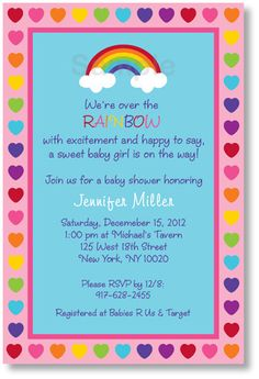 rainbow baby shower | Rainbow Printable Baby Shower Invitation by LittlePrintsParties