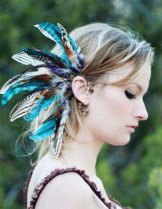 noches de secuoya... brazalete oreja pluma tribales por SpiritTribe