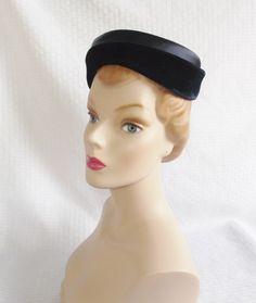 ff7307d42ae 1950 s Vintage Royal Blue Velvet Pill Box Hat by MyVintageHatShop