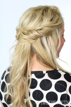 Have you guys seen this hairstyle floating around Pinterest? I've seen this and one similar where you take all the hair off the neck and roll it into a headband. I've never done a tutorial on it and thought you guys would enjoy! I purposefully rolled the hair into the headband a little more randomly than other tutorials. I think the bohemian, more undone take on this hairstyle is really pretty. I don't know why but I'm just a sucker for hairstyles that are messy but still put together…