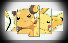 5 Piece Multi Panel Canvas Pokemon, Pikachi and Raichu, Pokemon Wall art, Pokemon wall decor, Pokemon canvas, pokemon print, pokemon art