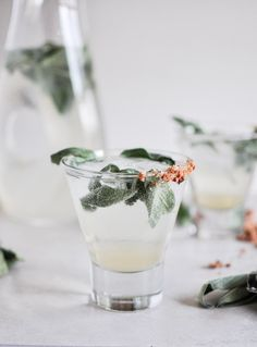 Honey Sage Gin Fizz - What you need:  - 3 ounces gin  - 1/2 – 1 ounce honey sage syrup, depending on your desired level of sweetness (recipe below)  - 1/2 ounce fresh lime juice  - 5 ounces club soda  - fresh sage leaves for garnish    Honey sage syrup:  - 1/2 cup honey  - 1/2 cup water  - 5-6 fresh sage leaves