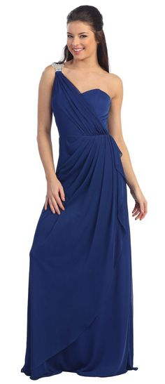 One Shoulder Draped Prom Cocktail Dress with Bejeweled Strap. Celebrate Milestones - Gifts, Woman's Formal Wear, Favors, Decorations and more. Visit our website at http://celebrate-milestones.com; LIKE us on FB at http://facebook.com/celebratemilestones; and follow us on Twitter @Christina @inspirationforcelebration.com Milestones.  $95.00