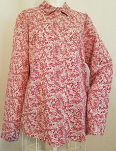 Sz-14-L-APPLESEEDS-Pink-White-Tan-Floral-Button-Down-Long-Sleeve-Career-Shirt