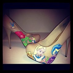 --LOVE THESE--Alice in Wonderland Flower Garden shoes by kdzines on Etsy, $150.00 omg. I don't think I could wear them and could not afford them but they are precious.