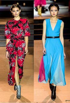 Bruna Virgínia da Silva: Tendências NYFW Outono Inverno 2018! Carolina Herrera, vestido, fenda lateral, bota glitter, transparência, cores vibrantes