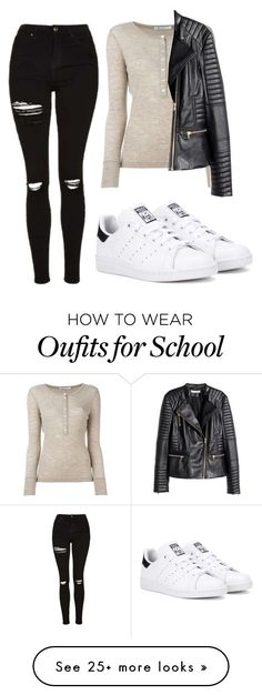 """""""Sorry again for not posting... #school"""" by maritkrijt on Polyvore featuring Topshop, T By Alexander Wang, H&M and adidas Originals"""