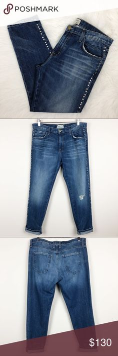 """Current/Elliott The Fling Studded Boyfriend Jeans Current/Elliott The Fling Studded Boyfriend Jeans — size 30. Excellent condition! The care tags don't even look worn/washed. 17.75"""" waist, 10.5"""" rise, 28.25"""" inseam. NO TRADES!!  *all measurements are approximate Current/Elliott Jeans Boyfriend"""