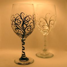Crystals -n- Swirls Wine Glasses / combo