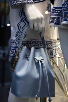"""Emilio Pucci white summer pieces with blue embroidery, and Sophie Hulme FW15 """"Wish You Were Here"""" bucket bag in ELITE Woman shop windows http://www.elitestore.es/sophie-hulme/"""