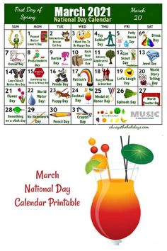 March has so many fun days to celebrate. Get a calendar to download and print to help with menu planning and to organize your activities for the month. #calendar #printable #nationaldays National Days In March, National Holidays, Days Of The Year, Months In A Year, Free Printable Calendar, Free Printables, National Holiday Calendar, Monthly Celebration, Crayon Days