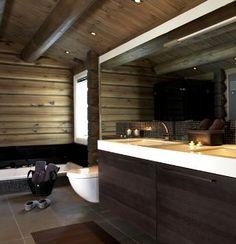 interior_cabin Mountain Cottage, Cabin Homes, Bad, Decoration, Interior Architecture, Bathtub, Cool Stuff, Bathroom, House