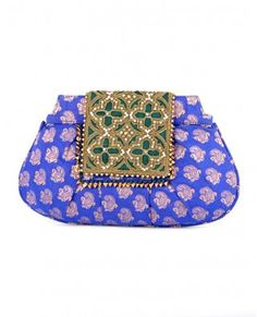Cobalt Blue Brocade Clutch with Bejeweled Flap. Designer: Malaga