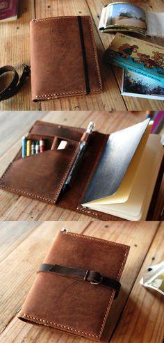 Moleskine cover. Agenda leather cover. Small moleskine leather case.