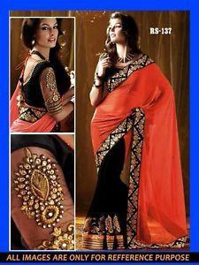Buy Online Georgatte Orange Color Saree Party Wear Designer Wedding Sari in just £32.49 (Free Shipping) http://www.ebay.co.uk/itm/Pakistani-Bollywood-Georgatte-Saree-Indian-Party-Wear-Designer-Wedding-Sari-C6-/151801997569?