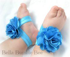Bébé TURQUOISE fleur minable nu-pieds sandales par BellaBumbleBee