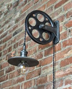 Train Station Wall Pulley Light - Vintage Industrial Cast - 1-Wheel - Wall Pulley - Industrial Pulley - Gears - Steampunk Light - Quality
