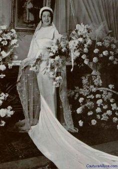 Bride, 1936.  Vintage wedding gown.