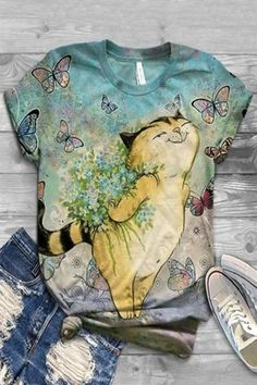 Casual Cartoon Cat Floral Butterfly Print Paneled T-shirt - insnova Casual T Shirts, Casual Tops, Blusas Animal Print, Types Of Sleeves, Short Sleeves, Cute Themes, Animal Print Outfits, Butterfly Print, Cat Shirts
