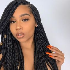 Top 60 All the Rage Looks with Long Box Braids - Hairstyles Trends Box Braids Hairstyles, French Braid Hairstyles, Kids Braided Hairstyles, Bandana Hairstyles, Elegant Hairstyles, African Hairstyles, Black Women Hairstyles, Girl Hairstyles, Hairstyle Ideas