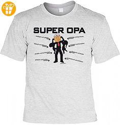 T-Shirt Funshirt - Super Opa - witziges Spruchshirt als Geschenk Motivshirt für den stärksten Großvater Geburtstag Humor, Größe:L (*Partner-Link)