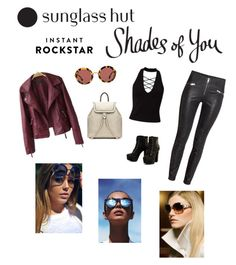 """Shades of You: Sunglass Hut Contest Entry"" by gladys-hoffman ❤ liked on Polyvore featuring Miss Selfridge, Miu Miu, Le Specs, Laura Biagiotti and shadesofyou"