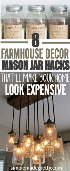 This farmhouse decor gives the perfect rustic look we were looking for. I love these DIY mason jar ideas to add an expensive look to our home. We tried the mason jar pantry labels and the lights in our living room and it turned out nice.