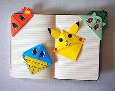 These cute little Pokemon bookmarks fit right over the corner of any book youre reading. Theyre made out of origami paper. The size of these little gu. - DIY & Crafts that I love - origami Paper Crafts Origami, Origami Easy, Origami Tutorial, Origami Boxes, Dollar Origami, Origami Instructions, Crafts To Do, Diy Crafts For Kids, Art For Kids