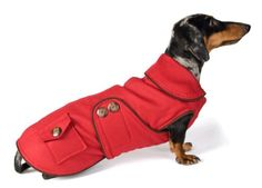 Noodle and Friends Reversible Little Red Riding Wool Dachshund Coat - http://www.petsupplyliquidators.com/noodle-and-friends-reversible-little-red-riding-wool-dachshund-coat/