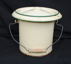 Vintage French Enamel Chamber Pot or Bucket  For Sale at www.theoriginalfrenchfurniturecompany.com