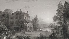 The Villa Diodati on the shore of Lake Geneva, where in 1816 Lord Byron, Dr. Polidori, Mary Shelley, Percy Shelley and Claire Clairmont met and told each other ghost stories, resulting in Mary Shelley's Frankenstein and John Polidori's The Vampyre. Mary Shelley Frankenstein, Villas, Lord Byron, Classic Literature, Traditional Paintings, Lake Geneva, Ancient Art, Creative Writing, Jane Austen