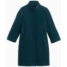 Max&Co. Wool and cashmere double-weave coat (34.580 RUB) ❤ liked on Polyvore featuring outerwear, coats, petrol green, green kimono, blue coat, high collar coat, green coat and wool coat