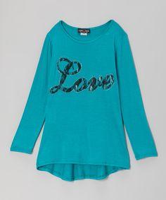 Blue 'Love' Lace Tunic - Girls