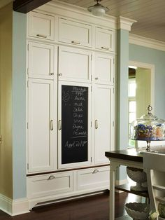 Retro Pantries. We often think of pantries as one sizeable space in the kitchen with one or two big doors. This pantry harkens back to butler pantires in turn of the century homes where wall to ceiling cupboards provided space not available in the small kitchens.