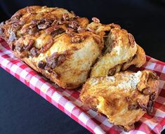Sweet pull-apart yeast bread with homemade caramel and chopped pecans