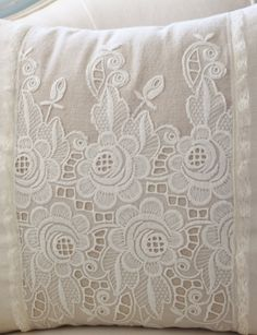 Vintage French cutwork embroidery pillow by VictoriaHaydenDesign