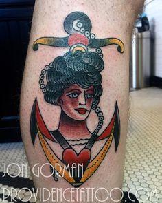 by jon gorman at providence tattoo  #providencetattoo #jongorman #anchor #tattoo #anchortattoo #ladytattoo #traditional #traditionaltattoo #tattooartists #anchorlady #color #tattooideas